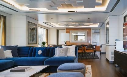 Dynamiq Jetsetter yacht main saloon with Trussardi furniture
