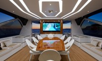 Dynamiq Jetsetter yacht dining area by night